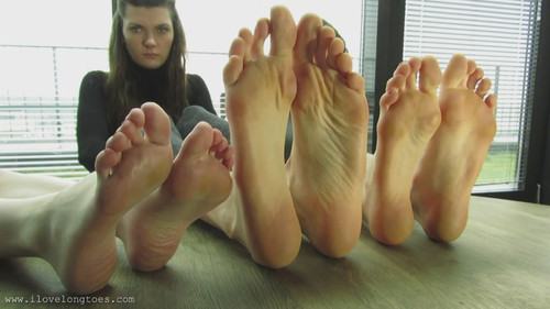 Bare feet and nylon socks.